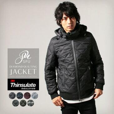 キルティングジャケット メンズ シンサレート高機能中綿素材 ダイヤキルティング 取り外し可能フード付き ジャケットメンズ 男性 SPU スプ