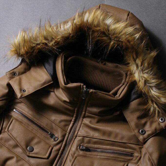 防寒 冬新作 中綿 ジャケット メンズ アウター メンズ ファー付き WET-PU レザー ダブルフェイス 送料無料 M L XL XXL