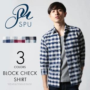 チェックシャツ シャツ メンズ メンズファッション 綿麻 カスレ ブロックチェック 7分袖 SPU スプ テレワーク 部屋着 在宅勤務 父の日 プレゼント ギフト
