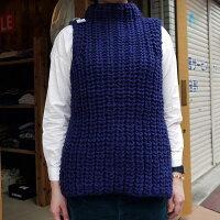 ベストざっくりセーター手編みベストレディースローゲージニットペルーニット手編み紺のベストラグスタイルボリュームスクールベストFサイズハンドメイドマスターピースネイビーレディースバービー