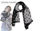 DONNI CHARM【ドニーチャーム】DONNI DITTO SCARF ONYX/HEATHER GREY SILVER WING CHARM ドニーディトー スカーフ オニキス/ヘザーグレー シルバー ウィングチャーム 13031 [秋冬 セレブ愛用 トレンド ブランケット 大判]