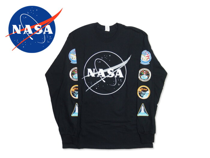 ☆NASA【ナサ】NASA Logo Long Sleeve Black ナサ ロゴ ロングスリーブ ブラック 16920[メール便対応 宇宙 スペースシャトル]