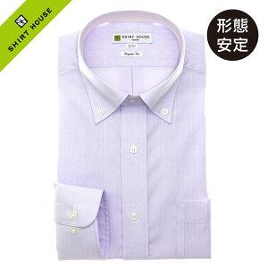 ワイシャツ 形態安定 M L LL 2L 3L 長袖 2020夏 新作 パープル ピンク ドビー 無地 ボタンダウン 標準 オフィスカジュアル シャツハウス メンズ ドレスシャツ