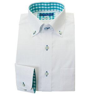 ワイシャツ 形態安定 S M L LL 2L 長袖 2021春夏 新作 白 ホワイト ドビー ボタンダウン スリム 細身 オフィスカジュアル シャツハウス メンズ ドレスシャツ