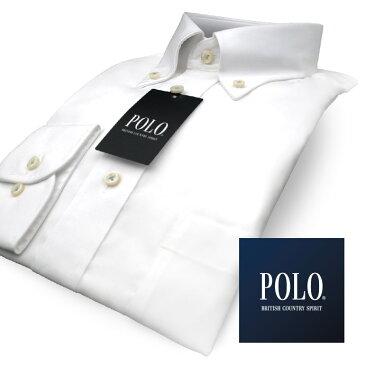 【POLO b.c.s.】 長袖 形態安定 綿100 ピンオックスフォード ボタンダウンビジネス シャツ(メンズ ワイシャツ ドレスシャツ yシャツ 白シャツ ホワイト S M L LL 3L 4L 5L)