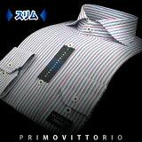 【PRIMOVITTORIO】形態安定・スリムフィットマルチカラーストライプ・ホリゾンタルカラーシャツ(長袖ワイシャツ/Yシャツ/ドレスシャツ/カッタウェー)10P03Dec16