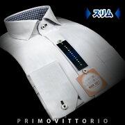 PRIMOVITTORIO スリムフィット・エアータンブラー ヘリンボーン・ショートポイント・ワイドカラーシャツ ワイシャツ ビジネス ホワイト