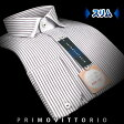 【PRIMOVITTORIO】形態安定・スリムフィット・エアータンブラー加工ロンドンストライプ・ショートポイント・ワイドカラー・ストッパーカラーシャツ(長袖ワイシャツ/メンズ/Yシャツ/ビジネスシャツ/マイター/厚手/他色/ブルー/レッド)