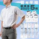 ワイシャツ よりどり半袖5枚 1枚あたり999円 セット ワイシャツ 送料無料 ビジネス 半袖 yシャツ カッターシャツ ドレスシャツ ビジネスシャツ メンズ ボタンダウン ワイドカラー 形態安定 ホワイト ブルー グレー ストライプ チェック 大きいサイズ feature01・・・