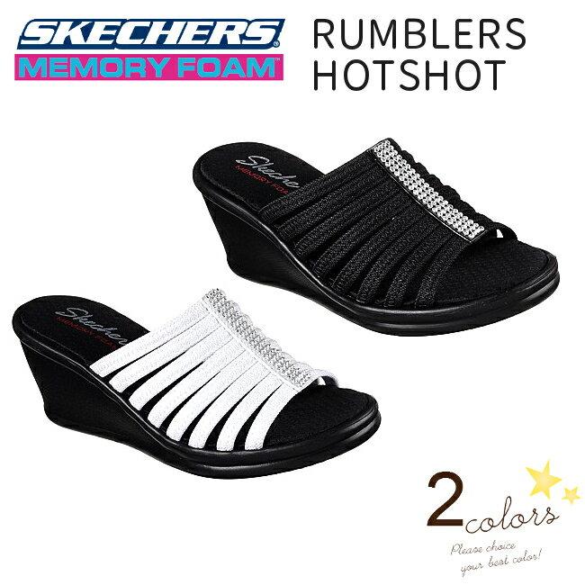 【・送料込(一部地域を除く)】  スケッチャーズ SKECHERS RUMBLERS-HOTSHOT  38562 BLK(ブラック) WHT(ホワイト) ウィメンズ ウェッジソール 厚底サンダル・ミュール
