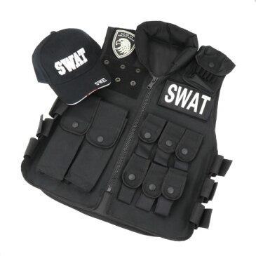 ハロウィン 2点セット SWATベスト&SWATキャップ スワット ハロウィン swat キャップ ベスト コスプレ 仮装 タクティカルベスト 女性 警察 婦人警官 サバイバルゲーム 衣装 特殊部隊 コスチューム 制服 レディース