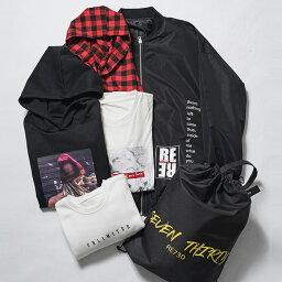 【ポイント10倍!】福袋 2021 メンズ ストリート 韓国ファッション ビッグシルエット 大きいサイズ BIG 6点 MA1ジャケット プルパーカー トレーナー Tシャツ コーディガン RE730 セブンサーティー