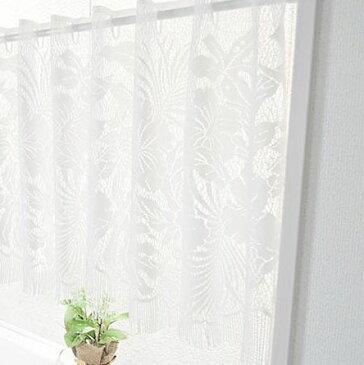 敷物 カーテン 関連商品 ボタニカル柄フリンジレースカフェカーテン 約150cm幅×47cm丈 2枚組 ホワイト
