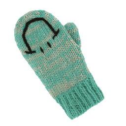 アイデア 便利 グッズ 服飾雑貨 小物 ミトン スマイリー ミント 17719630033/シンプルなスマイル柄の手編みミトン お得 な全国一律 送料無料