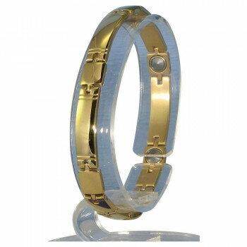 ゲルマニウム5個付ブレスレット GOLD/IP ミラー 119G S (17.7cm) H9259-07Sおすすめ 送料無料 誕生日 便利雑貨 日用品