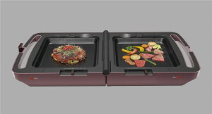 キッチン家電タコ焼き焼肉コンパクトに収納可能両面ホットプレートメタリックローズ
