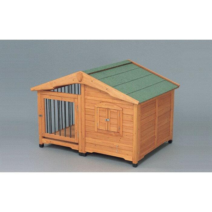 屋外用 犬 小屋 ロッジ風 窓を開けても柵があり窓から出る心配なし!ブラウン:創造生活館