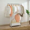 キャスター ハンガーラック 大量の衣類を掛けることができる頑丈なパイプハンガー!! インテリア 収納家具 洋服 衣服 衣類 収納 白 2段 ホワイト
