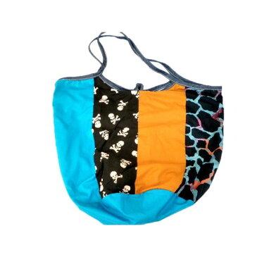 折り畳み ハワイアン 綺麗 コットンバケツバッグ くたくたトートバッグ キリン×ドクロ