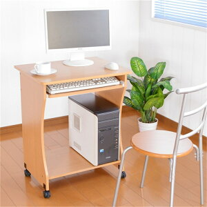 PC机パソコンラックキャスター付き木目調パソコンデスクナチュラル