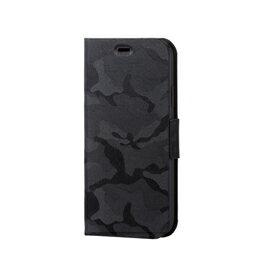 電化製品関連 エレコム iPhone XR/ファブリックカバー/手帳型/カモフラ/ブラック PM-A18CPLFUCFBK