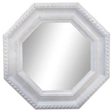 玄関ミラー ロココ調 人気の 卓上ミラー 八角型 ホワイト