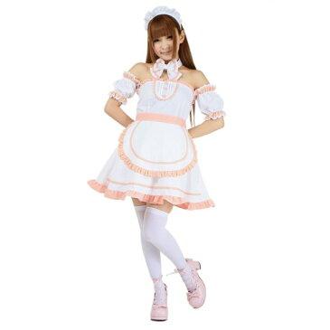 コスチューム 衣装 甘いピンクにふんわりレースで最強にキュート!メイド 服 カチューシャ エプロン 付きハロウィン 仮装 ハロイン halloween costume ハローウィン