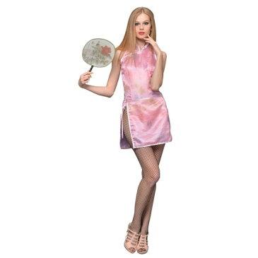 セクシー チャイナ 服 巻きスカートがセットされたコスチューム! コスプレ 衣装 コスチューム ピンク Sサイズハロウィン 仮装 ハロイン halloween costume ハローウィン