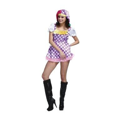ピエロ 大人 コスプレ衣装 ビビットカラーのピエロワンピース ハロウィン 仮装 ハロイン halloween costume ハローウィン コスチューム 衣装 ミニスカート