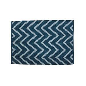 玄関マット店舗北欧風ジグザデザインラグ・マットサイズ:約90×130cmカラー:ブルー