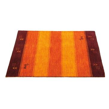 玄関 絨毯 ウール100% ギャベ柄 ラグ・マット カラー:オレンジ サイズ:60×90cm
