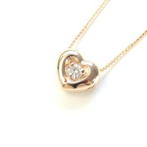 ファッション18金ピンクゴールド天然ダイヤモンドぷっくりハートプチデザインペンダントネックレス