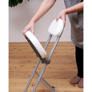高さ調節チェア(ホワイト)※座面が無段階調節可能[椅子][イス][チェア][カウンターチェア][キッチン][クッション][おしゃれ][モダン][便利][コンパクト][シンプル][折りたたみ][スタイリッシュ][カウンター][背もたれ][高さ調整][作業][完成品][NK-017]