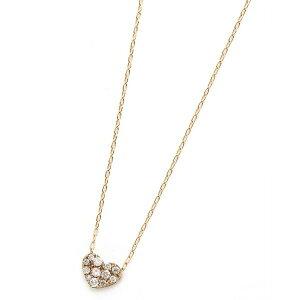 ファッションK18ピンクゴールドダイヤモンドネックレス0.15CTハートダイヤパヴェネックレス