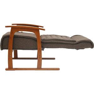 インテリア・家具14段階リクライニングチェア(コイルバネ高座椅子)肘付き高さ調節可ポケットコイル入り座面紅葉ブラウン