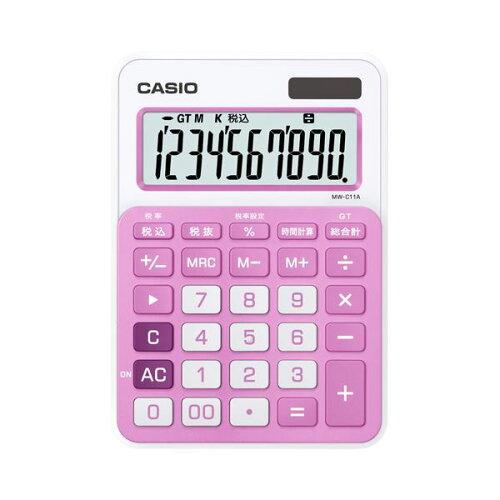 (まとめ) カシオ CASIO カラフル電卓 10桁 ミニジャストタイプ ベイビーピンク MW-C11A-PK-N 1台...