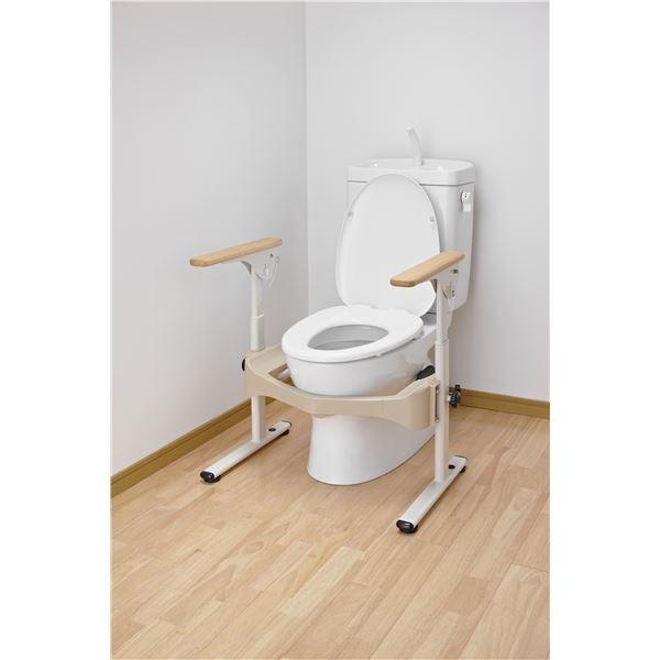 トイレ用品 アロン化成 トイレ用手すり 洋式トイレフレームSはねあげR-2(1)木製ヒジ掛ケ 533-087:創造生活館