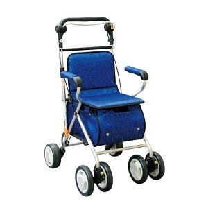 健康器具シルバーカー/ハーベストウォーカー(3)反射機能/杖ホルダー付きプラムネイビー[歩行補助用品/介護用品]