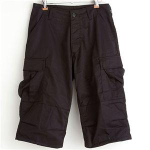ミリタリー アメリカ軍 BDU クロップドカーゴパンツ/迷彩服パンツ 【Lサイズ】 リップストップ ブラック(黒) 【レプリカ】