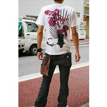 ファッション 戦国武将Tシャツ 【豊臣秀吉 馬蘭後立付兜】 Lサイズ 半袖 綿100% ホワイト(白) 〔Uネック おもしろ〕