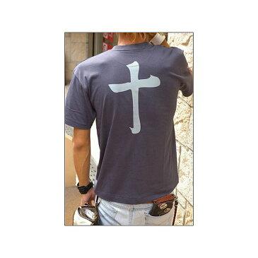 ファッション 戦国武将Tシャツ 【島津義弘 十文字】 XSサイズ 半袖 綿100% 藍鉄 〔Uネック おもしろ〕