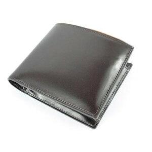 メンズ 財布 二つ折り 美しい光沢の 人気商品 オールヌメ革ショートウォレット ダークブラウン