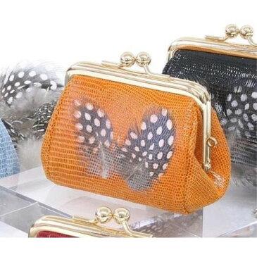 ガマ口 天然の羽根を使った 人気の リアルフェザー・ディアスキンがま口お財布 オレンジ