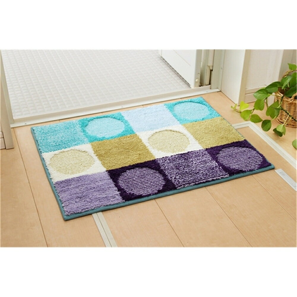 Bath mat 洗える ポリエステル 洗えるバスマット 2枚組 カラー:ブルー