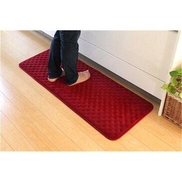 台所マット Kitchen mat 無地 シンプル キッチンマット 低反発 カラー:レッド サイズ:45×60cm