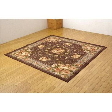 ダイニング 絨毯 不織布 撥水カーペット カラー:ブラウン 江戸間6畳 サイズ:261x352cm