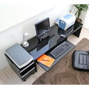鏡面仕上ロータイプ150cm幅パソコンデスク2点セット ブラック 日本...