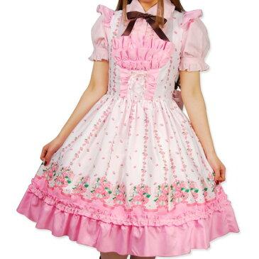 クリスマス ハロウィン 衣装 xmas コスプレ Christmas サンタ サンタクロース の季節 大きいサイズ フリル 花柄 スカート 可愛いピンクのバラの花を散りばめたスカート♪ ロリータファッション 大人 衣装 仮装 Lサイズ
