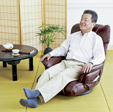 座椅子 ソファチェア 360度回転 スーパーソフトレザー座椅子 カラー:ブラック