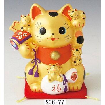 インテリア雑貨 まねき猫 陶製 金運猫づくし 招き猫 貯金箱